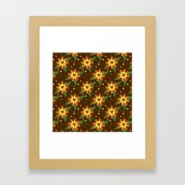 Beautiful Flowers with Heart Pistil Pattern Framed Art Print