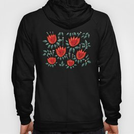 Abstract Red Tulip Floral Pattern Hoody