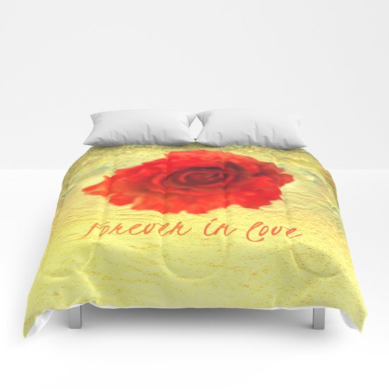 Forever in love red rose on  gold with rays  Comforters