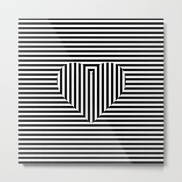 Hearth Shape on Stripes Metal Print