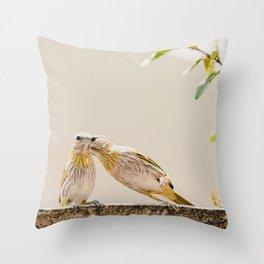 Birds Kissing Throw Pillow