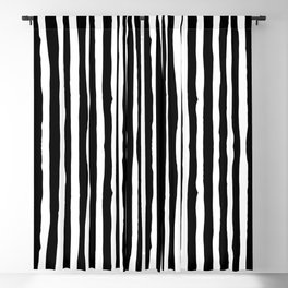 Black and White Vertical Stripes Blackout Curtain