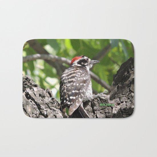 A Nuttal's Woodpecker Up a Tree Bath Mat