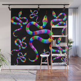 Snake Psychedelic Rainbow Colors Wall Mural