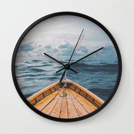 Alone at Sea-The canoe Wall Clock