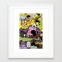 hentai Framed Art Prints featuring Space Chick & Nympho: Vampire Warrior Party Girl Comix #2 - Comic Book Cover by Tex Watt