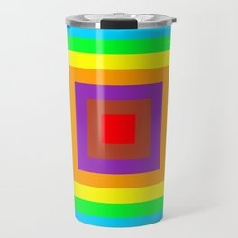 Multi coloured square background Travel Mug