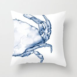 Coastal Crab in Watercolor, Navy Blue (Right Half in Set) Throw Pillow