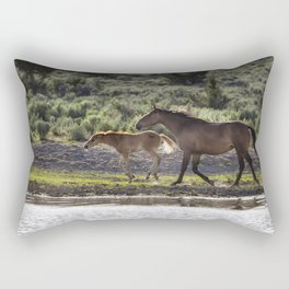A Bay and Her Colt Running By The Waterhole Rectangular Pillow