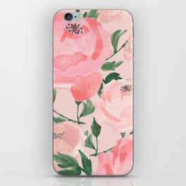 Watercolor Peonies with Blush Background iPhone Skin