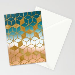 Golden Cubes Stationery Cards