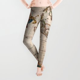 1658 Map of North America and South America with 2015 enhancements Leggings
