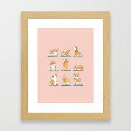 Corgi Yoga Watercolor Framed Art Print
