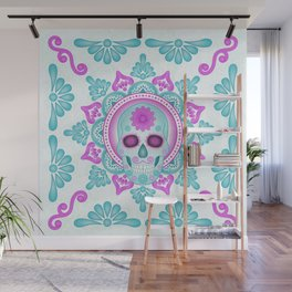 Pastel Day of the Dead Skull Wall Mural