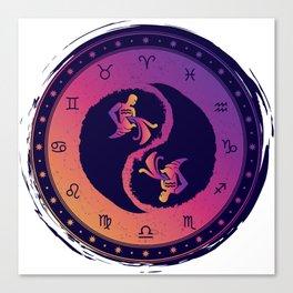 Aquarius Eleventh Zodiac Sign Yin Yang Canvas Print