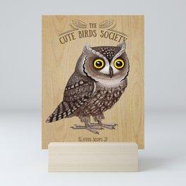 Otus scops on wood Mini Art Print