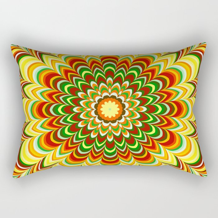 Colorful flower striped mandala Rectangular Pillow