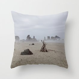 Bandon Beach Bird Throw Pillow