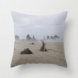 Bandon Beach Bird Throw Pillow