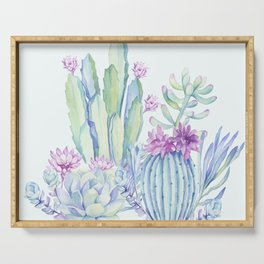 Mixed Cacti Light Blue #society6 #buyart Serving Tray