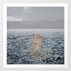 Swimming under the rain Art Print