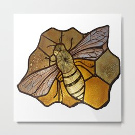 Hand Painted Stained Glass Bee Metal Print