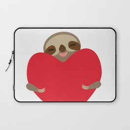 Valentines day card. Funny sloth with a red heart Laptop Sleeve