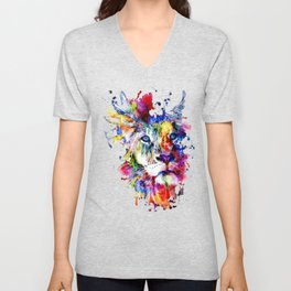 Colorful Lion, Lion Face Unisex V-Neck