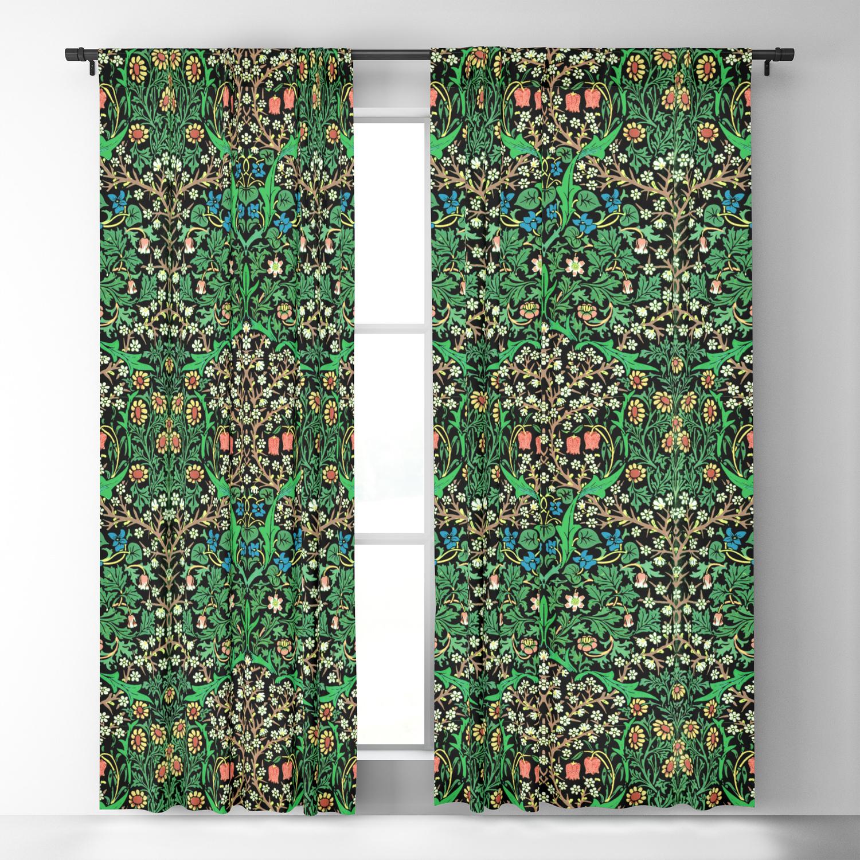 William Morris Jacobean Floral Black Background Blackout Curtain