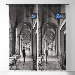Black and white Bologna Street Photography Blackout Curtain