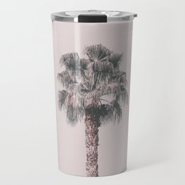 Tropical Palm Tree In Pastel Pink Light Travel Mug