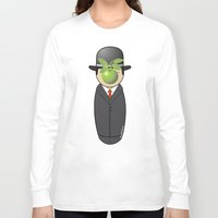 magritte Long Sleeve T-shirts featuring Kokeshi Magritte by Pendientera