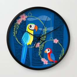 Squeaky Beakies With Freaky Tikis Wall Clock