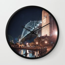 Night Bridge Building Wall Clock
