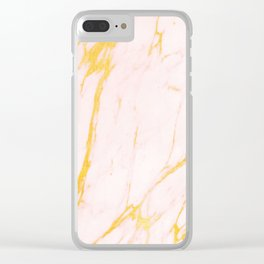 Modern blush pink faux gold abstract marble pattern Clear iPhone Case