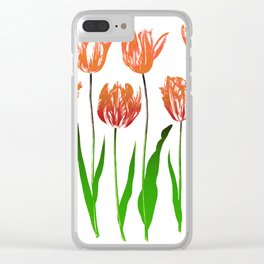 Tulip Garden Print in Shades of Coral Orange and Green Clear iPhone Case