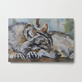 White wolf, oilpainting Metal Print