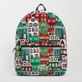 Christmas Village in Watercolor Red + Green Backpack