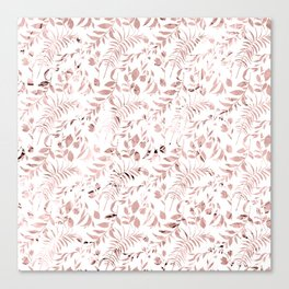 Elegant modern faux rose gold tropical leaves floral Canvas Print