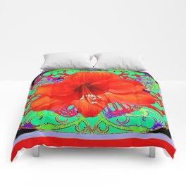 Italian  Style Design Red Amaryllis Abstract Comforters