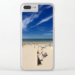 On the beach, blue sky Clear iPhone Case