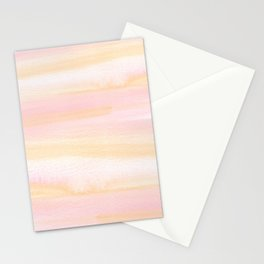 Pastel pink coral blush cream watercolor abstract watercolor pattern Stationery Cards