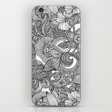 Flowers and doodles iPhone Skin