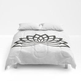 Gray Marble With A Black Lotus Comforters