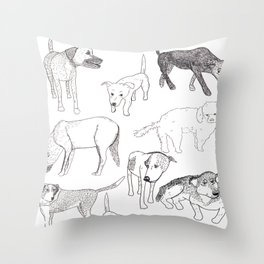 Sayulita Street Dogs Throw Pillow