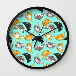 """""""Oro?"""" Cats-Turquoise Wall Clock"""