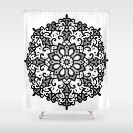 Monochrome classic mandala Shower Curtain