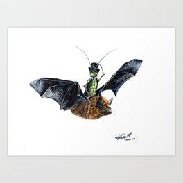 """ Rider in the Night "" happy cricket rides his pet bat Art Print"