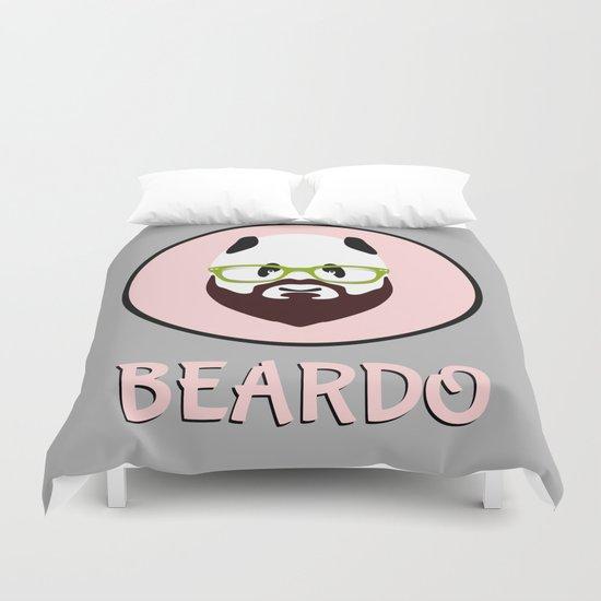 Beardo Panda with a Beard Duvet Cover