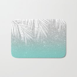 Modern tropical white palm tree silver glitter ombre on robbin egg blue turquoise Bath Mat